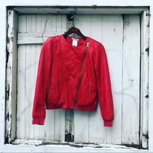 Red Leather Paul & Joe Sister Jacket Size 4